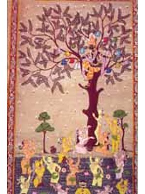 Krishna Stealing Clothes (Scroll Painting)