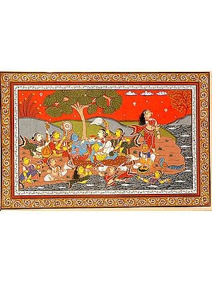 Krishna with Gopis on the Banks of River Yamuna