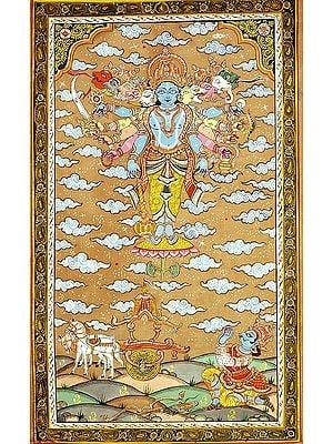 Lord Krishna Shows Vishvarupa to Arjuna During Mahabharata War at Kurukshetra (Gita Updesha)