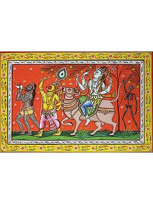 Lord Shiva on Nandi with Shivaganas