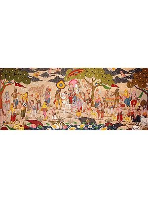 Lord Shiva Taking His Bride Parvati Home Accompanied with Principal Hindu Deities, Saints and Shivaganas