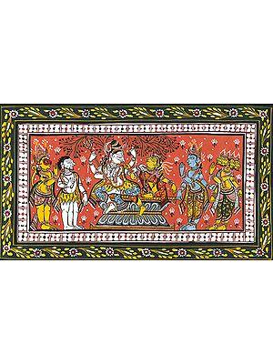 Lord Vishnu, Brahma, Hanuman and a Three-Legged Shaivite Saint Paying Homage to Shiva Parvati