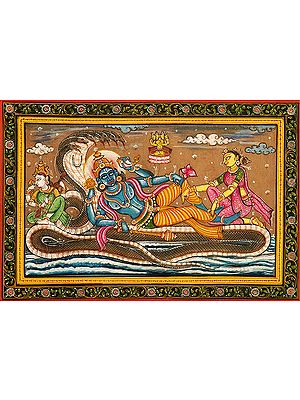 Lord Vishnu with Lakshmi and Saraswati on Sheshnag and Brahma on Lotus