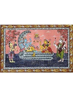 Lord Vishnu with Lakshmi on Sheshnag