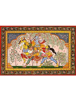 Pashu Kunjar (Composite Horse) Made of Gopis with Krishna Atop