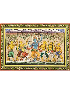 Krishna lifts Mount Gobardhan