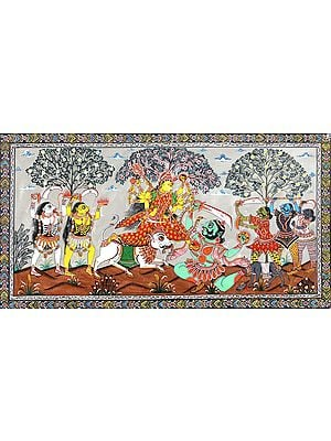 Goddess Durga Slaying Mahishasur and other Demons