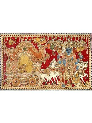 Lord Krishna Shows Vishvarupa to Arjuna During Mahabharata War at Kurukshetra (Gita Updesha) Large Size