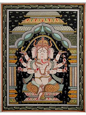 Chaturbhujadhari Lord Ganesha, Seated Under The Dusk
