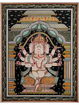 Chaturbhujadhari Lord Ganesha, Seated Under The Dusk