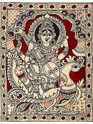 Goddess Saraswati on Her Vehicle Swan
