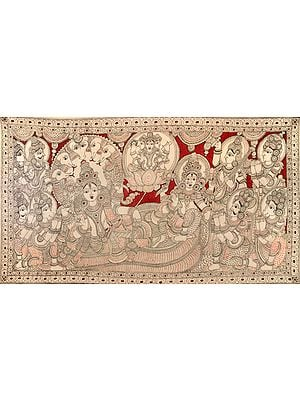 Shesha Shayi Vishnu Lakshmi With Narada, Hanuman, Devas and Saints in Reverence - Large Size