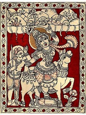 Shri Krishna Lifts Mount Govardhan