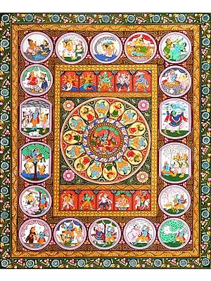Rasa Mandala with Dash Avatars of Lord Vishnu and Shri Krishna Lila