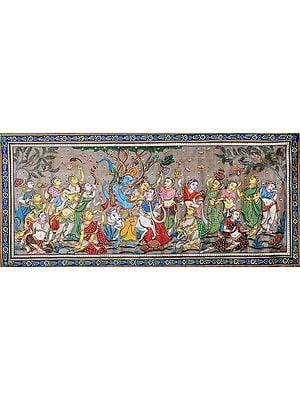 Radha Krishna with Sakhis