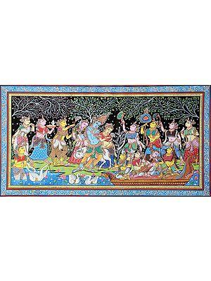 Radha Krishna with Sakhis in Vrindavan