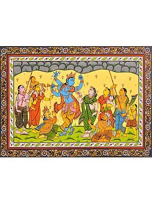 Shridama and Madhumangal Help Krishna Lift Mount Govardhana