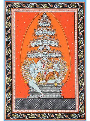 Linga as Jyoti: Cumulative Form of Shiva's Twenty-five Lilas  (Illustration to the Shiva Purana)