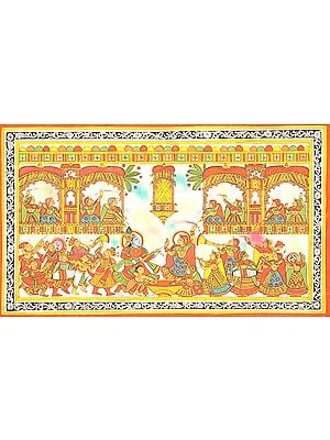 King, Attired as Krishna, Playing Holi