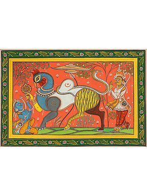 Arjuna Saluting Navagunjara - a Composite Figure (Krishna) During His Stay in Khandava Forest