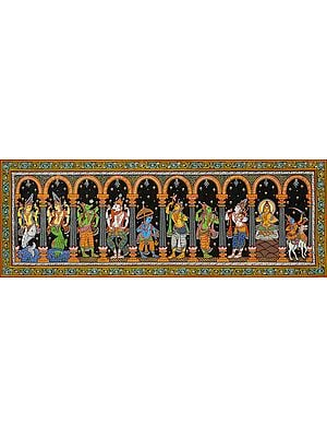 Dashavatara Panel: Ten Incarnations of Vishnu (From Left - Matshya, Kurma, Varaha, Narasimha, Vaman, Parashurama, Rama, Balarama, Buddha and Kalki)