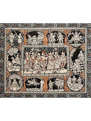 Shri Krishna with Gopis and Dasha Avatara  of Lord Vishnu
