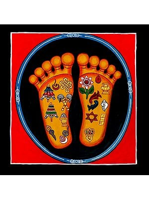 Auspicious Ashtamangala Symbols on Lotus Feet