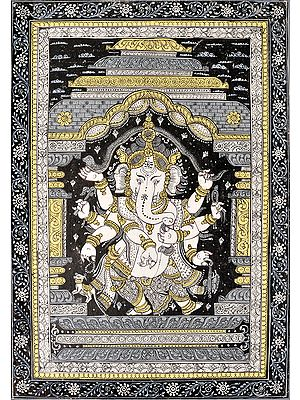 Lord Ganesha Dancing and Stretching a Snake Over His Head