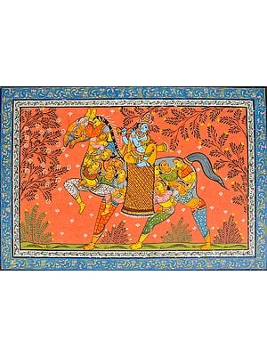 Lord Krishna On The Back Of A Horse Made Of Gopiyaan