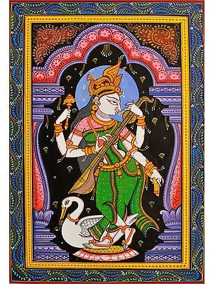 Goddess Saraswati Playing Vina