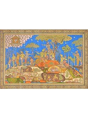 Shri Rama Converses with Bali as Sugriva Hides Behind Him