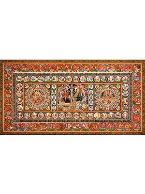 Episodes from the Mahabharata and Life of Krishna (Super Large Painting)