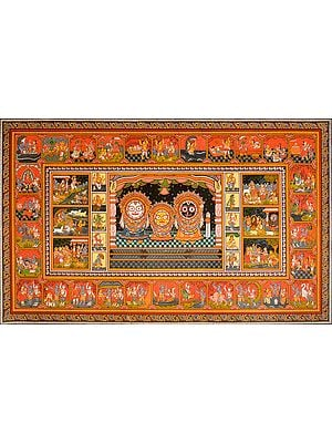 Shri Jagannatha-Pata with the Life of Krishna and Dashavatara of Vishnu