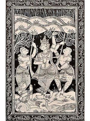 Shri Krishna Lifting the Mountain Govardhana