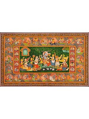 Shri Krishna with Gopis, His Lilas and Dashavatara