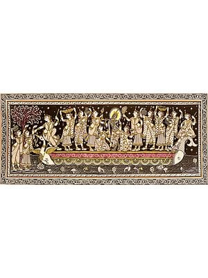 Radha Krishna on the Ferry Boat of Love with Gopis