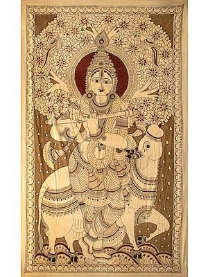 Haloed Venugopala Plays On The Flute, The Cow Listens On