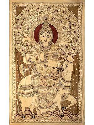 Haloed Venugopala on his Cow Surabhi