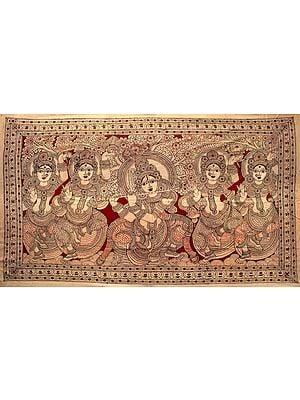 Krishna In Vrindavan, Surrounded By His Gopikas