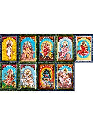 Navadurga (The Nine Forms of Goddess Durga) Set of Nine Paintings