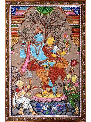 Dancing Radha Krishna with Gopis in Lotus Pond