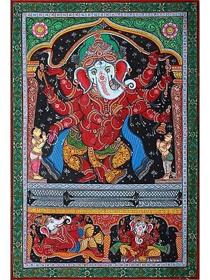 Ashtabhuja Ganesha Engaged in Ecstatic Dance