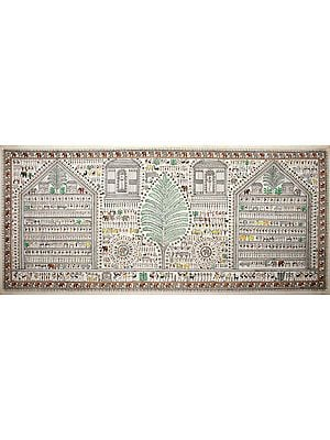 Warli Landscape with Tree of Life
