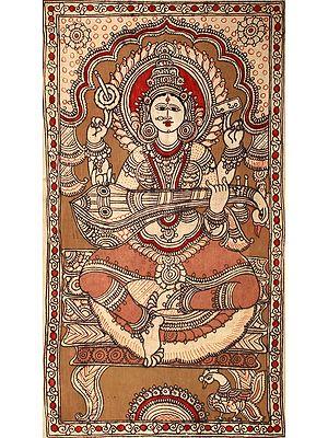 Goddess Saraswati Playing on Veena