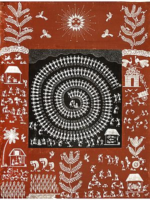 Warli Landscape with Tarpa Dance in Centre