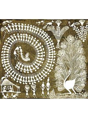 Dancing Peacock with Dancing Warli People
