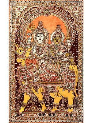 Shiva Parvati Seated on Nandi - Large Size