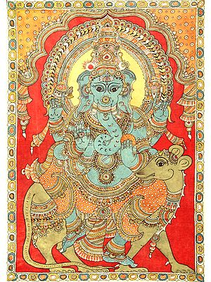 Four-Armed Ganesha Seated on Rat - Large Size