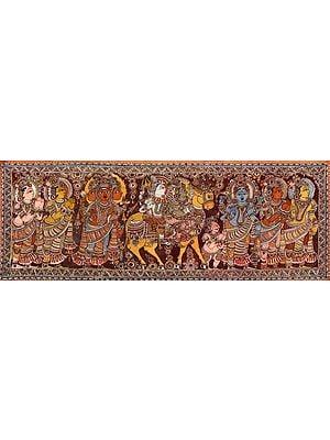 Shiva Parvati Seated on Nandi in a Procession with Vishnu, Karttikeya, Saints and Shiva Ganas