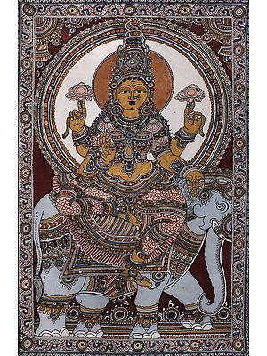 Haloed Devi Gajalakshmi, Rich In Shringar